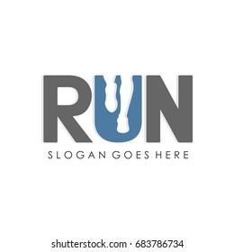 Run logo design template