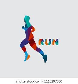 Run Logo Vector Template Design Illustration