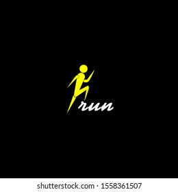 run man yellow vector logo brand