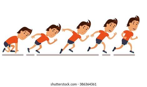Run men. Running step sequence. Storyboard. Animation. Competition. Training  illustration. Jogging cartoon character. Sprint marathon.