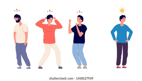Run from negative environment. Happy business person running away and ignoring toxic coworkers. Vector concept, illustration of run away from colleague with bad mood