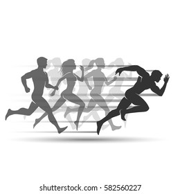 Run people on white background