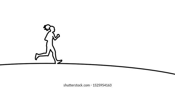 Run runner running sportswoman silhouette Marathon Line pattern vector icon icons sign signs fun fun funny Olympics Olympic gamer game 2020 Tokyo Japan Sport sports jogger fitness woman walk walking