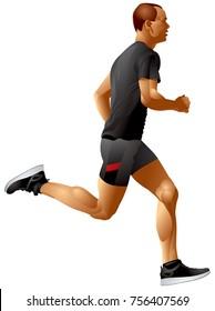 Run, Runner, Running Sprinter sportsman realistic vector illustration