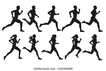 Run. Running men and women, vector set of isolated silhouettes