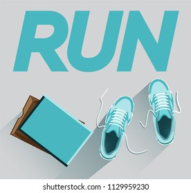 Run. Sneakers for running with a box. Sneakers with a cardboard box. Blue sneakers with a box. Blue sneakers with a cardboard box. Flat style. Flat design. Vector illustration Eps10 file
