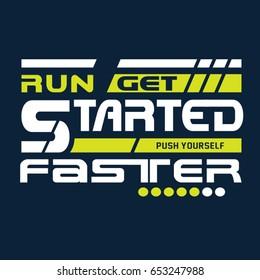 Run sport athletic typography, tee shirt graphics, vectors