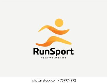 Run Sport Logo Template Design. Creative Vector Emblem for Icon or Design Concept