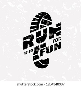 Run symbol in grunge style, marathon icon, poster and logo template