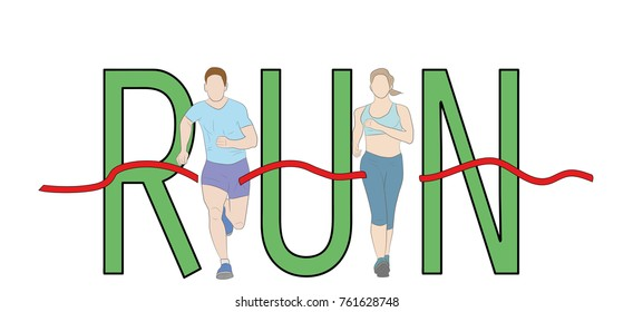 Run text font design, Marathon runners,  Men and Women running graphic vector.