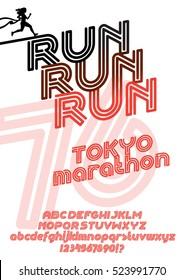 Run Tokyo marathon sport poster. Retro Vintage typeface. Line Alphabet. Type letters and numbers.