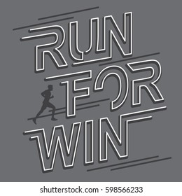 Run for win typography, tee shirt graphics, vectors, sport, athletic