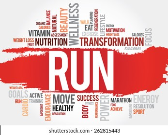 RUN word cloud, fitness, sport, health concept