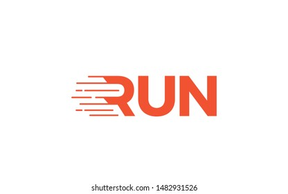 Run word mark logo with the letter R is formed like was running