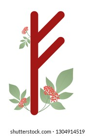 Runa Fehu. Ancient Norse Runa. Runic alphabet, Futhark. Ancient occult symbols. Vector illustration. Old Germanic letters on a white background in color. With leaves and flowers
