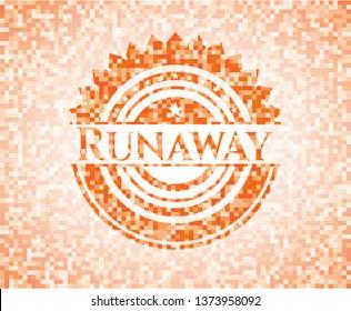 Runaway abstract emblem, orange mosaic background