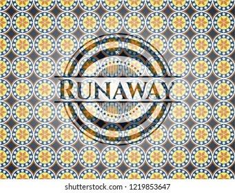 Runaway arabic badge background. Arabesque decoration.