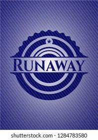 Runaway badge with jean texture