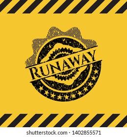 Runaway black grunge emblem, yellow warning sign. Vector Illustration. Detailed.