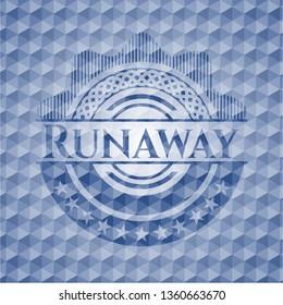 Runaway blue badge with geometric pattern.