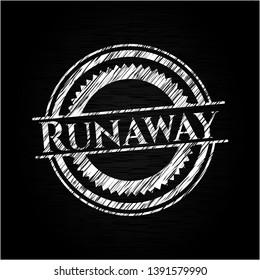 Runaway chalkboard emblem. Vector Illustration. Detailed.