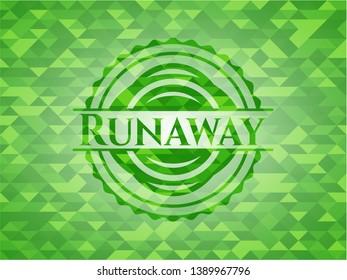 Runaway green mosaic emblem. Vector Illustration. Detailed.