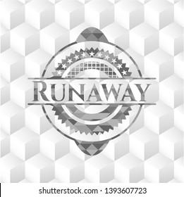 Runaway grey emblem with cube white background