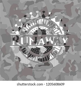 Runaway on grey camo pattern