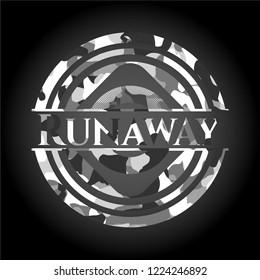 Runaway on grey camouflage pattern