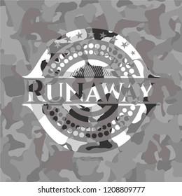 Runaway on grey camouflaged pattern