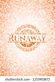 Runaway orange tile background illustration. Square geometric mosaic seamless pattern with emblem inside.
