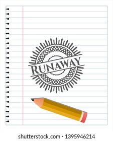 Runaway pencil draw. Vector Illustration. Detailed.