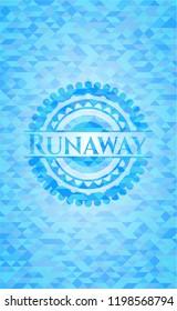Runaway realistic sky blue emblem. Mosaic background