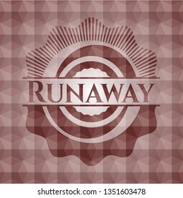 Runaway red badge with geometric background. Seamless.