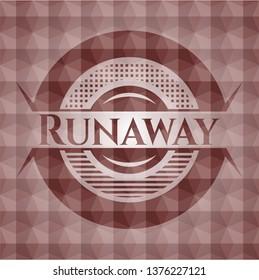 Runaway red badge with geometric pattern. Seamless.