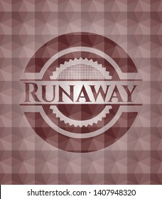 Runaway red emblem or badge with geometric pattern background. Seamless.