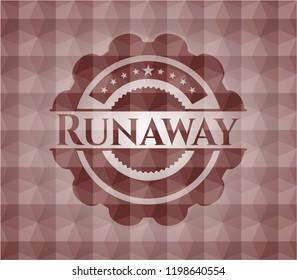 Runaway red seamless emblem with geometric pattern.