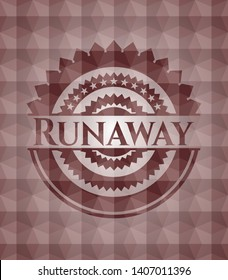 Runaway red seamless emblem with geometric background.