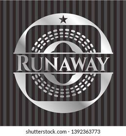 Runaway silvery badge or emblem. Vector Illustration. Mosaic.
