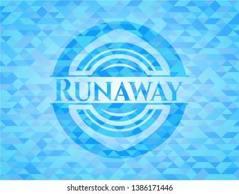 Runaway sky blue emblem with mosaic background