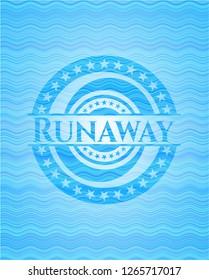 Runaway water wave concept emblem background.