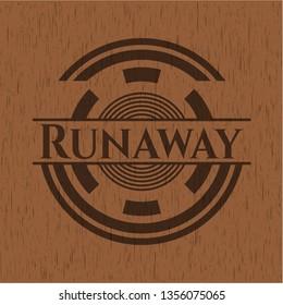 Runaway wooden emblem. Retro