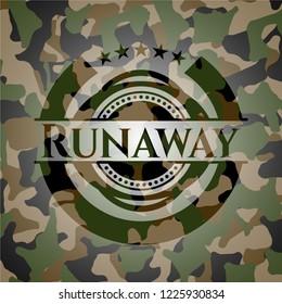 Runaway written on a camo texture