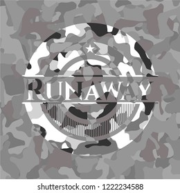 Runaway written on a grey camouflage texture