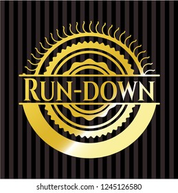 Run-down gold badge or emblem