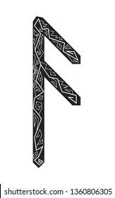 Rune Ansuz. Ancient Scandinavian runes. Runes senior futarka. Magic, ceremonies, religious symbols. Predictions and amulets. Ornament lightning. White background, black runes and white ornament