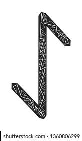 Rune Eihwaz. Ancient Scandinavian runes. Runes senior futarka. Magic, ceremonies, religious symbols. Predictions and amulets. Ornament lightning. White background, black runes and white ornament