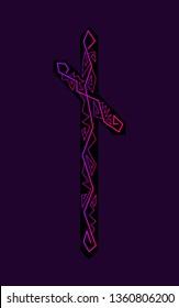 rune Nauthiz. Ancient Scandinavian runes. Runes senior futarka. Magic, ceremonies, religious symbols. Predictions and amulets. Ornament lightning. Dark background, black runes, purple-red ornament