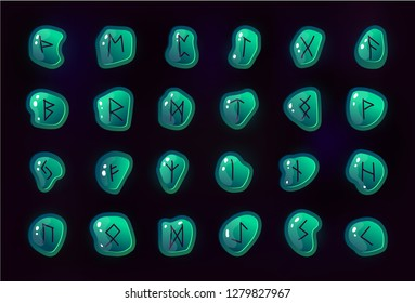 Rune set of letters, runes alphabet. Shiny square stones with fantastic symbols. Runes on the rocks in different colors. Game design beautiful elements.