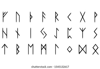 Rune symbol vector image Is a letter that Odin invented Popularly engraved on animal bones, wood plates or stone plates that look round, flat There are a total of 24 Runes used in forecasting, predict